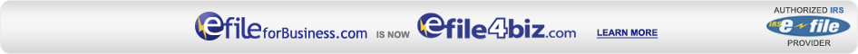 efileforBusiness.com is now efile4biz.com - Learn More - Authorized IRS e-file provider